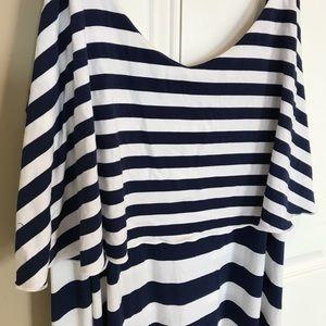Lane bryant striped ruffle high low maxi dress new